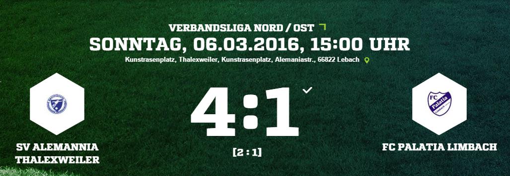 SV Alemannia Thalexweiler   FC Palatia Limbach Ergebnis  Verbandsliga   Herren   06.03.2016