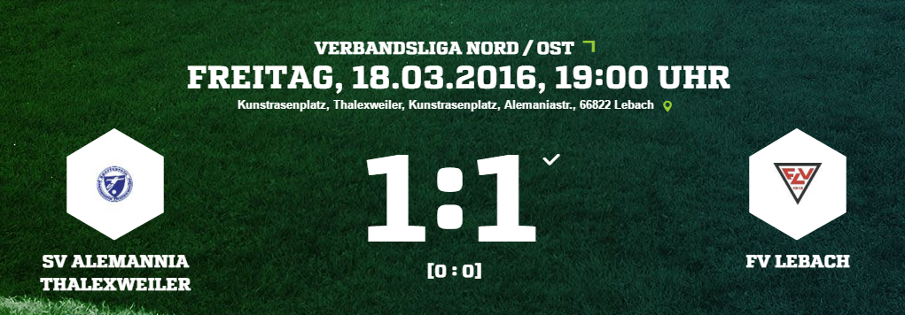 SV Alemannia Thalexweiler   FV Lebach Ergebnis  Verbandsliga   Herren   18.03.2016