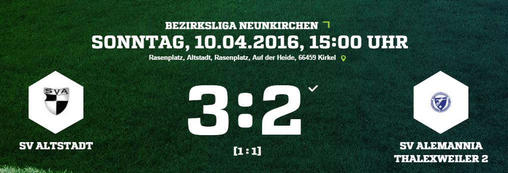 SV Altstadt   SV Alemannia Thalexweiler 2 Ergebnis  Bezirksliga   Herren   10.04.2016