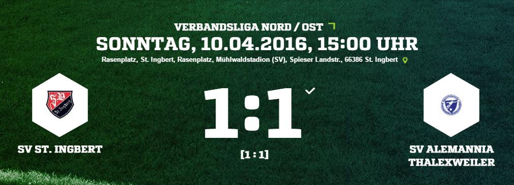 SV St. Ingbert   SV Alemannia Thalexweiler Ergebnis  Verbandsliga   Herren   10.04.2016