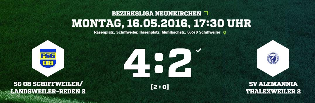 SG 08 Schiffweiler Landsweiler Reden 2   SV Alemannia Thalexweiler 2 Ergebnis  Bezirksliga   Herren   16.05.2016