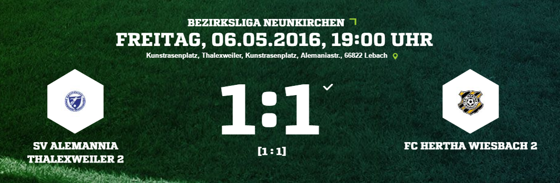 SV Alemannia Thalexweiler 2   FC Hertha Wiesbach 2 Ergebnis  Bezirksliga   Herren   06.05.2016