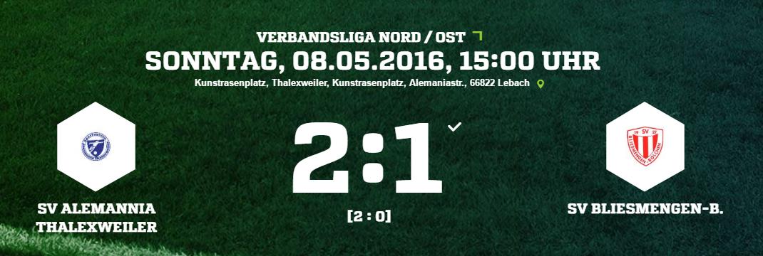 SV Alemannia Thalexweiler   SV Bliesmengen B. Ergebnis  Verbandsliga   Herren   08.05.2016