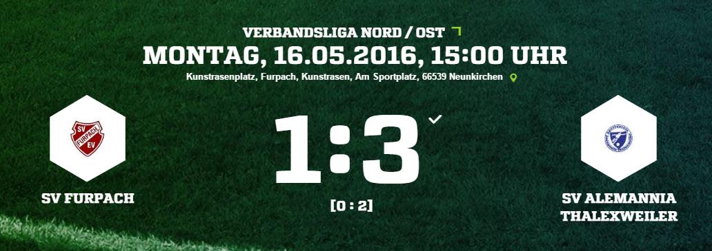SV Furpach   SV Alemannia Thalexweiler Ergebnis  Verbandsliga   Herren   16.05.2016